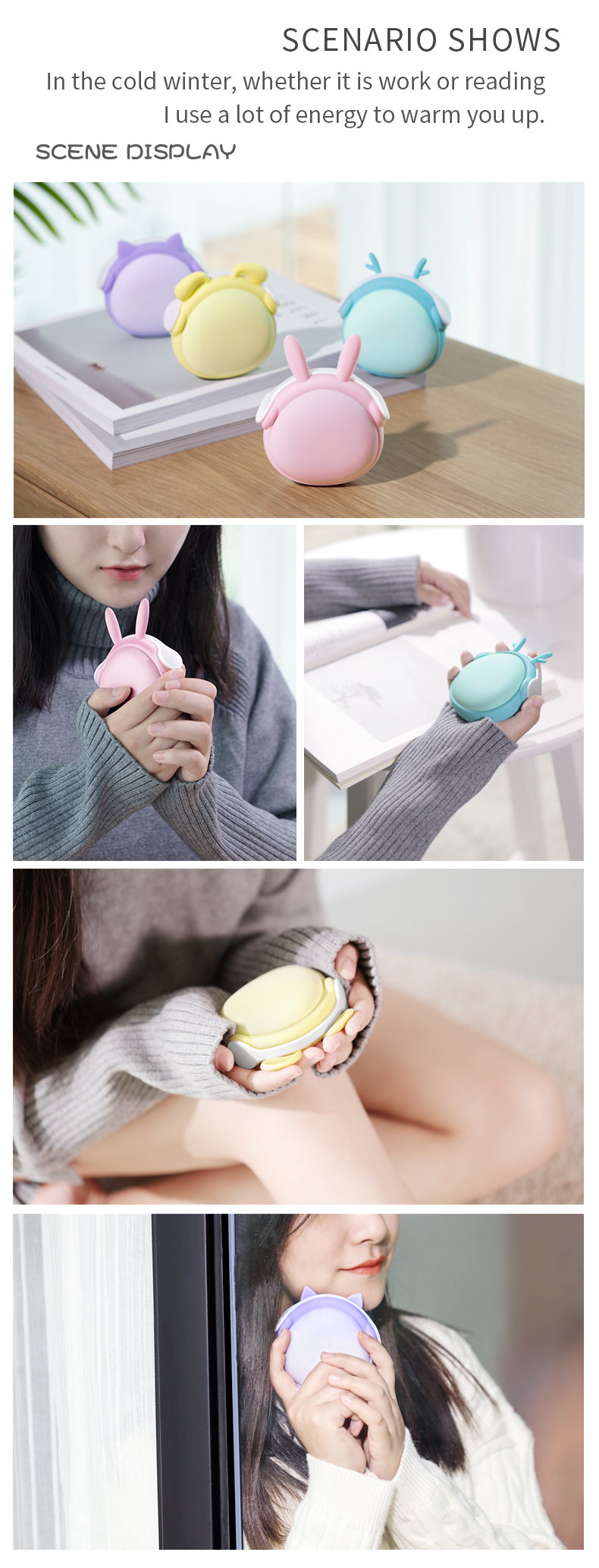 High quality cute popular rechargeable pocket hand warmer hand heater with power bank