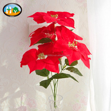 Wholesale high quality red velvet poinsettia artificial Christmas flower