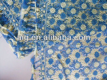 2013 Chemical Lace,Water Dissolving Lace,Water Soluble Lace,C47, BLUE_CREAM