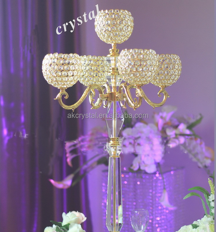 Factory supply new design romantic wedding crystal ball candelabra