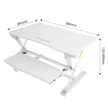 Height adjustable with gas spring sit stand laptop desk converter