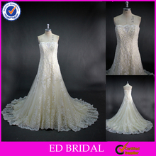 LN50 Stunning Crystal Beaded Lace Appliqued Real Sample Wedding Dress In Cream Color