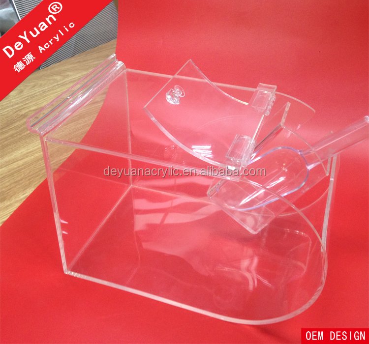 Food grade clear acrylic candy box slatwall candy display