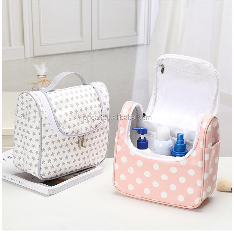 Encai Fashion Travel Toiletry Kits Dot Star Cactus Style Toiletry Bag With Compartments