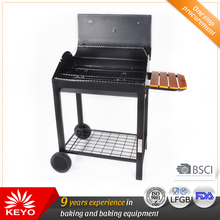 Wooden Side Table Bbq Square Charcoal Rectangular Barbeque Grill