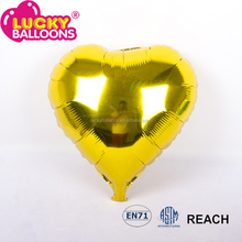 New heart Shaped Yellow Silver Birthday Party Aluminum Foil Ballon Decoration