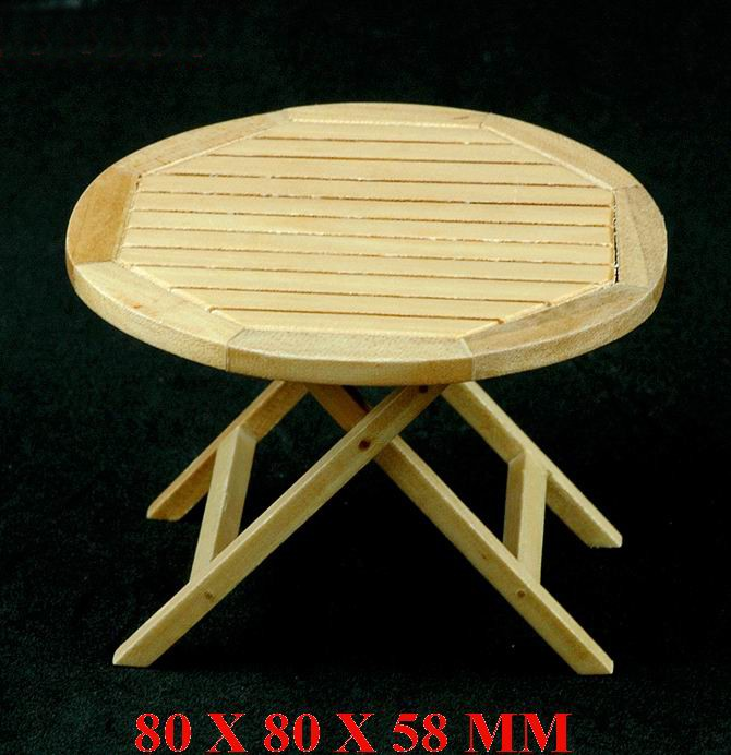 1/12 Scale Dollhouse Miniature Wooden Round Table Wood Dining Table Living Room Table QW60288