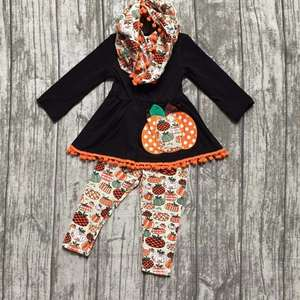 Halloween FALL/Winter baby girls outfits 3 pieces scarf black orange top Pumpkin print pom pom pant boutique children clothes