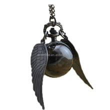 Quartz Ball Wing Pocket Watches Necklace Women Girl Vintage Black Bronze Silver Fob Watch Hot Selling New