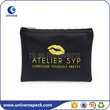Wholesale Lipstick Logo Black Pu Zipper Cosmetic Bags For Promotion