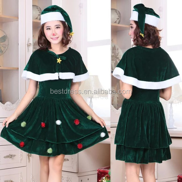 Women Sexy Cosplay Christmas Costume Adult Velvet Dress Santa Party Wear
