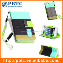 Set Screen Protector Stylus And Case For Iphone 5 , Leather Cell Phone Case Card Holder
