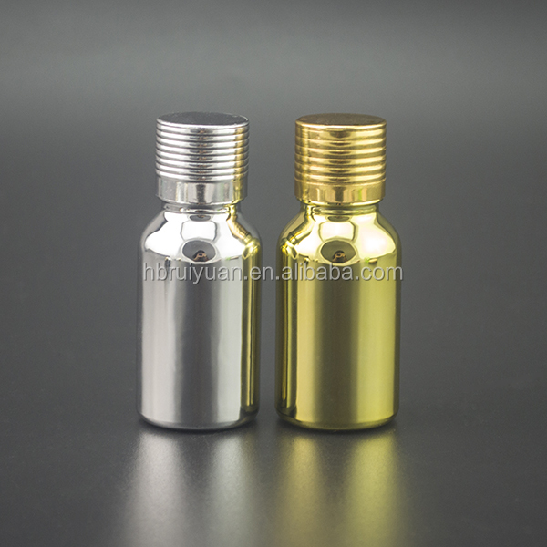 Cosmetic packaging electroplated gold silver bottle e liquid glass bottle eliquids dripper bottles