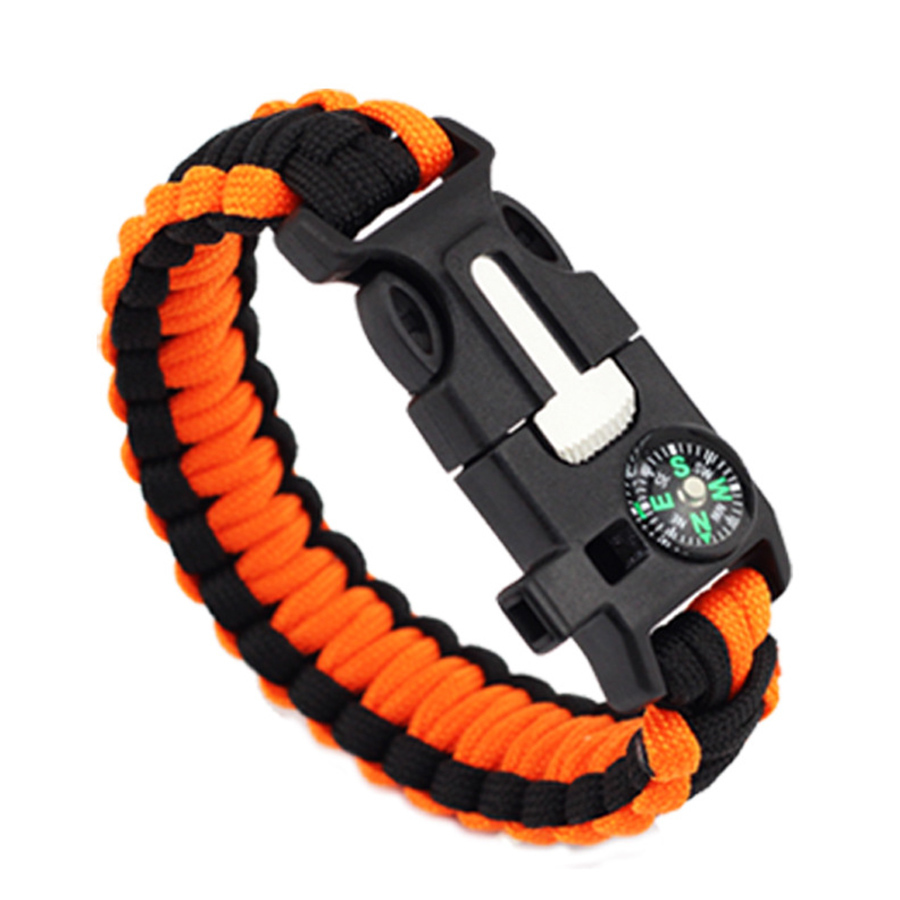 Cmart Wholesale Custom color 5 in 1 parachute Survival Bracelet with Fire starter/Embedded Compass/Whistle