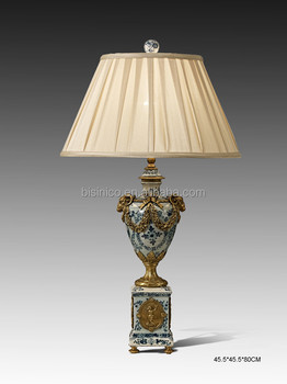Decorative Prize Cup Shaped Table Lamp With Shade, Porcelain Desk Lamp With  Bronze Base,