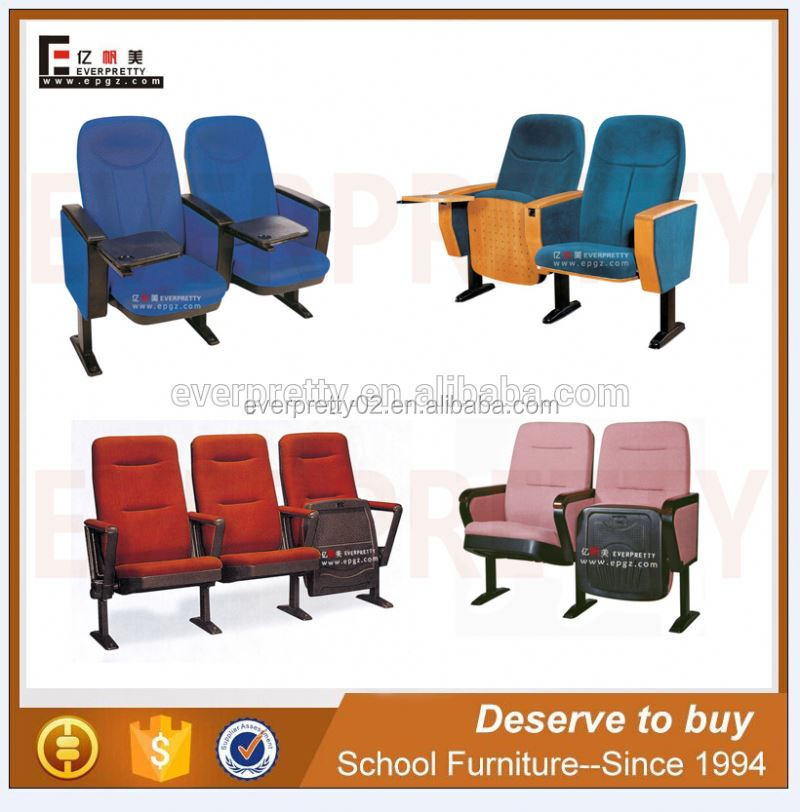 Hot sale training folding plastic auditorium chairs with tables attached