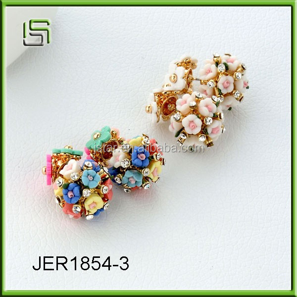 Fashion stud earrings ladies double - sided earrings wholesale ceramic jewelry earrings