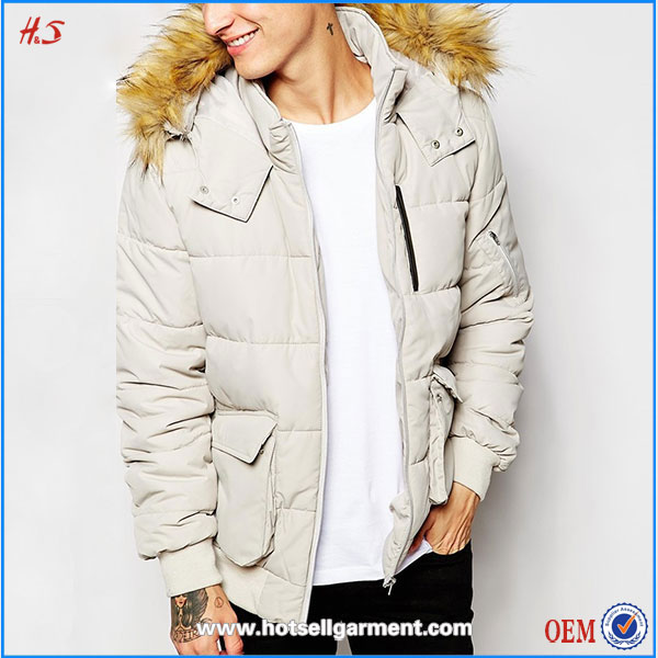 2016 Clothing factory in china cheap faux fur hook coat short quilted parka in white