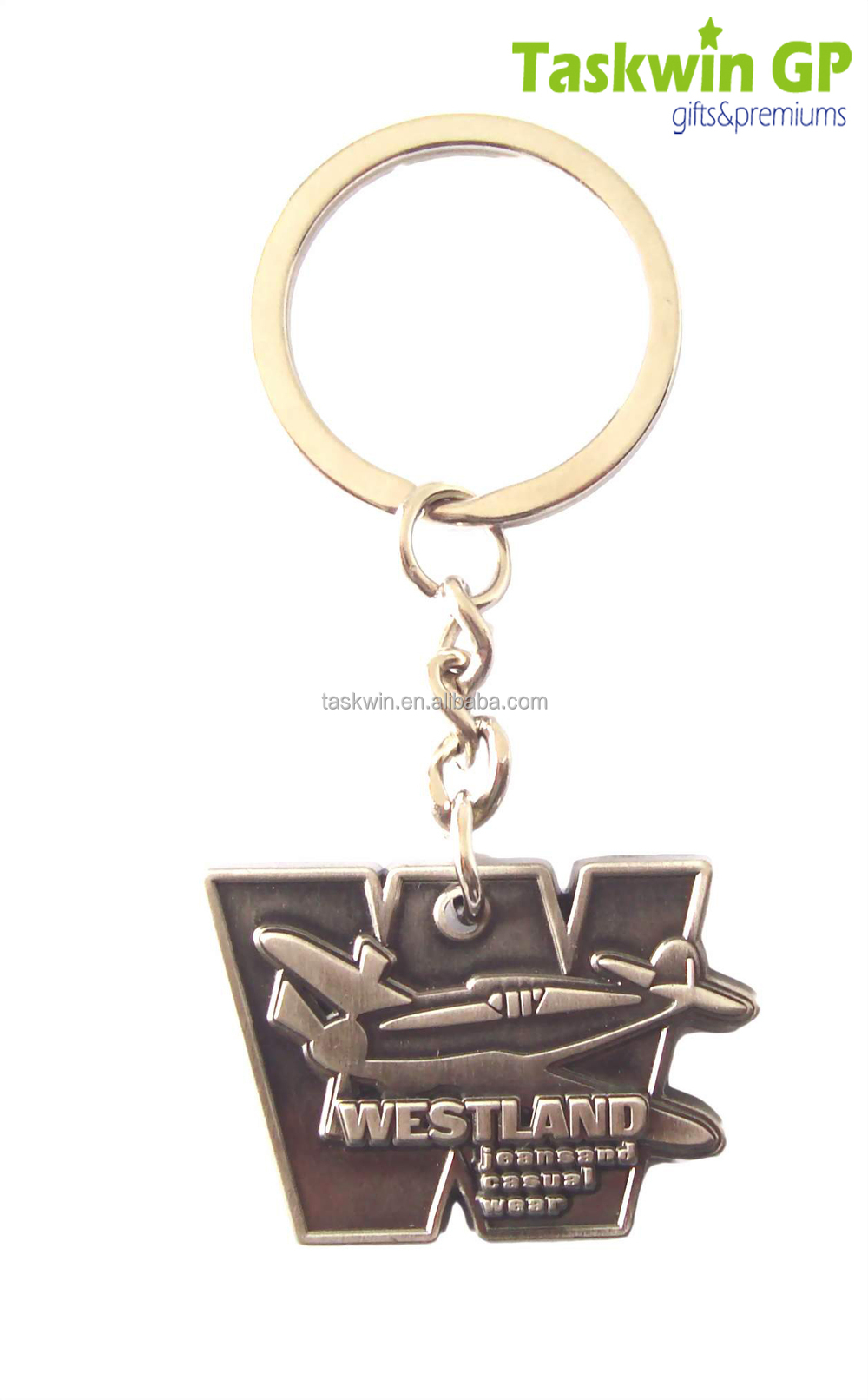 Hight quality antique brass die cast metal keychain
