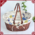 Factory wholesale round wicker empty picnic basket durable storage basket for food with handle