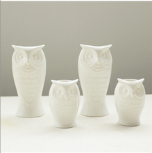 Animal owl shape ceramic vase white unpainted table ceramic vase for home decoration