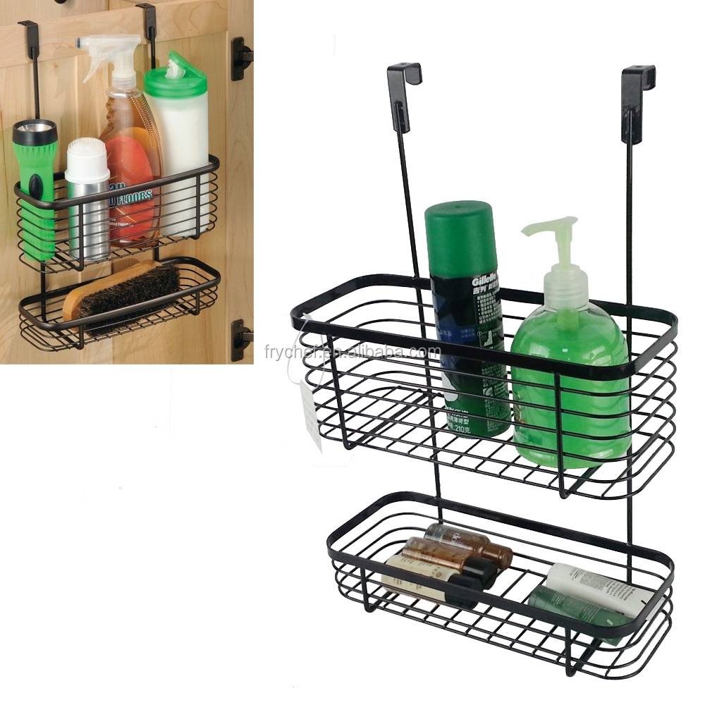 Metal Kitchen&Bathroom Cabinet Storage Organizer Rack 2-tier Over The Cabinet Door Hanging Basket Rack Chrome/Powder coating