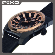 PX-15 OEM and ODM high quality elegance fashion black rosegold sport shock wrist watch men stainless steel watch for unisex