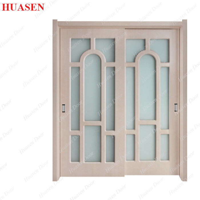 Double glass wood interior door design