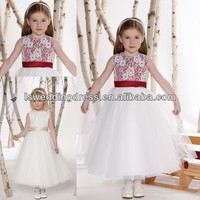 HF2132 Jewel nec with sleeveless white embroider red band layers tulle skirt A-line tea length white and red flower girl dress
