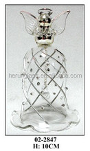 Decorative Clear and Diamond Hanging Glass Bell with Angle Top