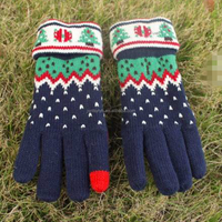 100% acrylic winter christmas knitted mitten