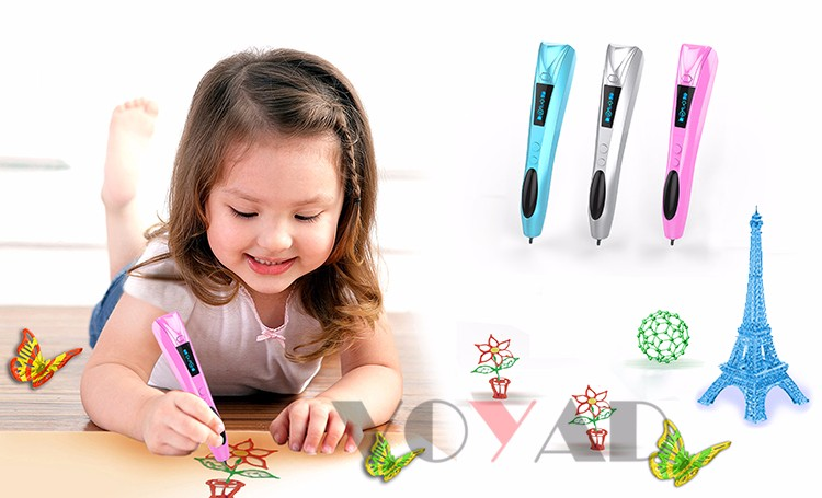 Cheap rechargeable 3D Printing Pen Drawing Real 3D printer pen with 2 gel free