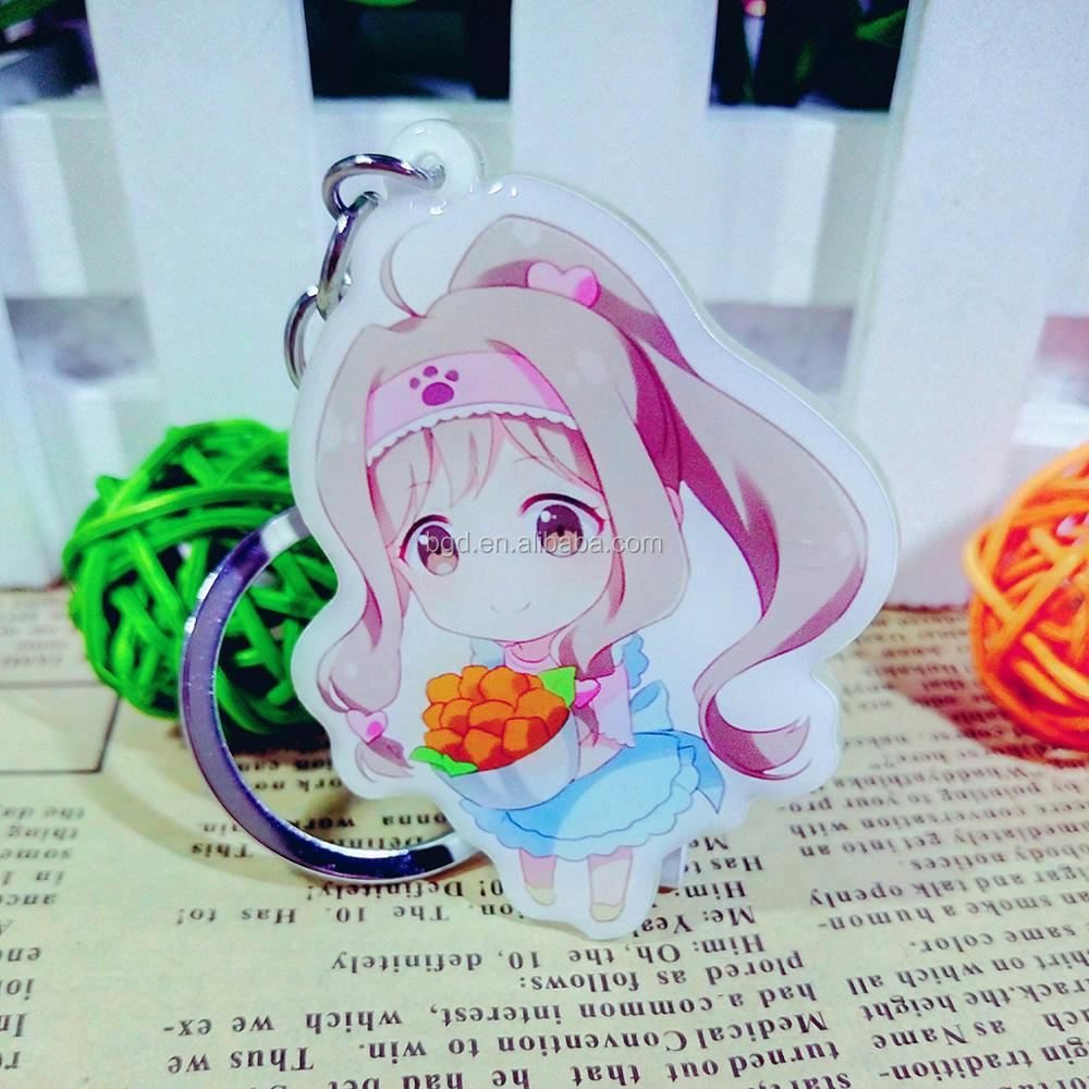 Hot sale 2017 Yiwu fashion custom metal keychain cheap OEM transparent acrylic keychains printed cartoon anime plastic charms