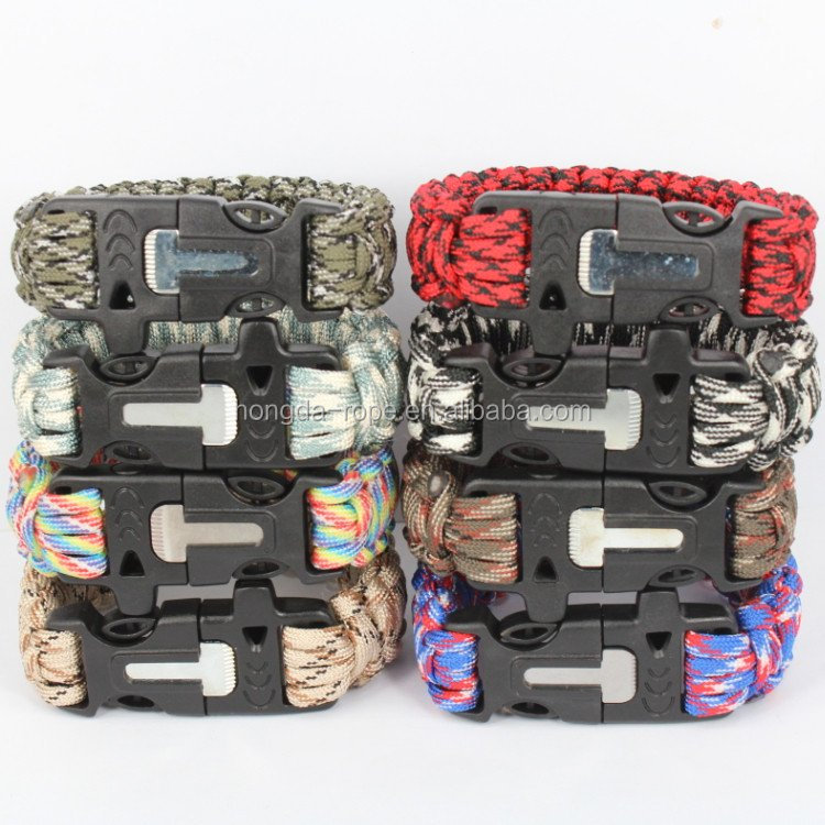 wholesale customized logo 550 paracord survival kit/bracelet for outdoor emergency apparatus