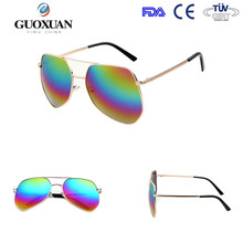 2015 retro aviator style sunglass with metal frame and thin temple