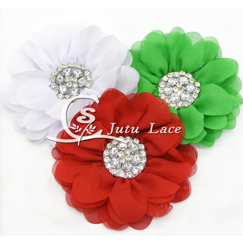 3.75'' ' lace chiffon flower for chirstmas baby hair acessories