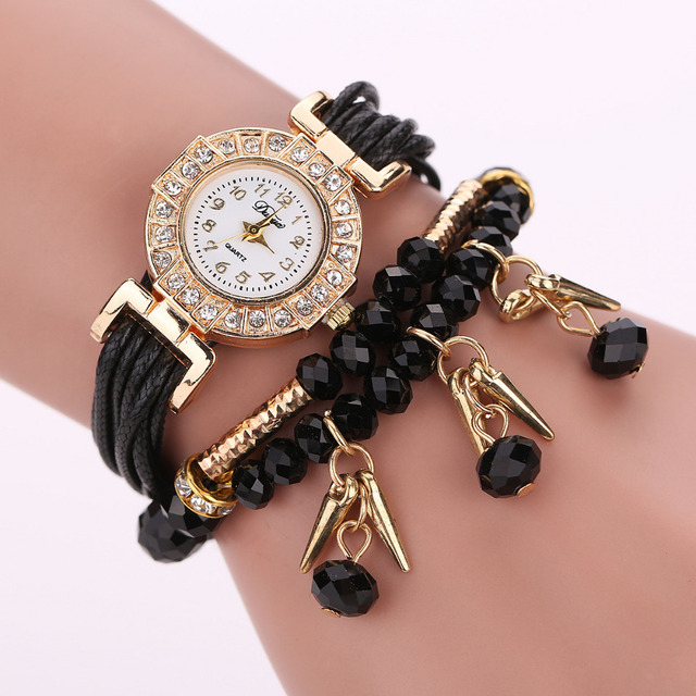 New Fashion Black White Red Luxury Rhinestone Bracelet Watch Ladies Quartz Watch Casual Women Wristwatch Relogio Feminino Gift
