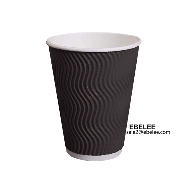 black ripple paper cup for hot coffee