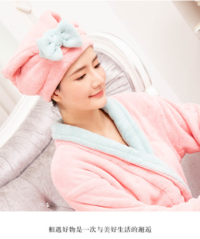 Women Cute Soft Coral Fleece Ultra Absorbent Shower Cap Hat Bathing Cap  Hair Drying  Towel Wrap Hat