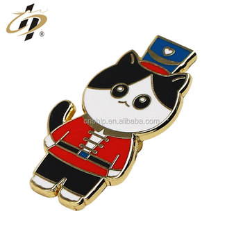 Custom hard enamel metal cat animal wholesale gold lapel pins
