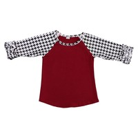 Fashion burgundy houndstooth ruffle raglan and icing leggings kids clothing