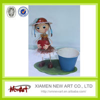 wholesale alibaba artificial small potted plant hand made metal girl with flower pots