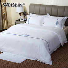 WEISDIN wholsesale custom embroidery logo plain sateen hotel bed linen bedclothes duvet cover sets luxury cotton bedding set