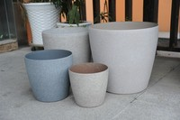 painted frosted sand blasted decorated plastic flower pot