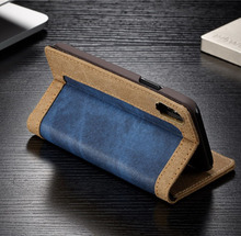 Denim Fabric Business Purse Wallet Case Credit Card Holder Flip Magnetic Stand Cover Drop Protection Case Cover for iphone x