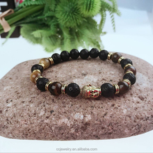2017 Wholesale Trendy Design charm men Gold Buddha prayer Lava stone Tiger eye Bead Bracelet