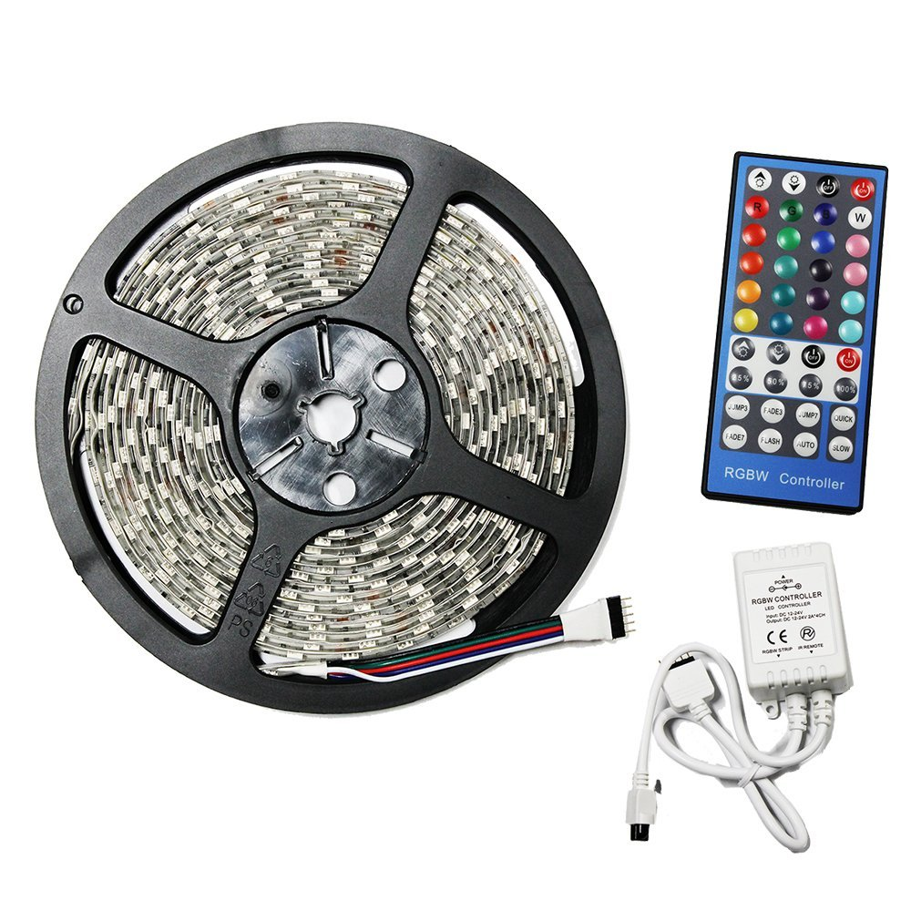 Submersible RGBW Color Changing LED Light Strip Kit 5m 300 LEDs + 40 Key Remote Controller + 12V 5A Power Supply
