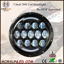 2015 China 4x4 accessories, 7 Inch Car LED Projector Headlight DOT Approved Round Head Light with Halo ring for Jeep Wrangler JK