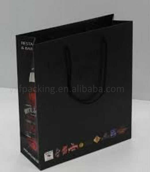 Good printed art paper bag with cotton handle for garment for shopping