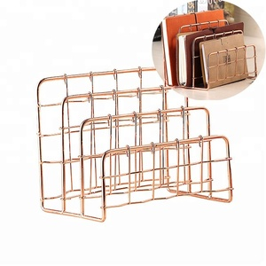 Rose Gold Metal Wire 3 Slot Office Table Desktop Vertical Stand Book Letter File Mail Holder Sorter Organizer